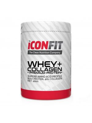 Iconfit WHEY+ Collagen Premium proteiinipulber 400g Maasika